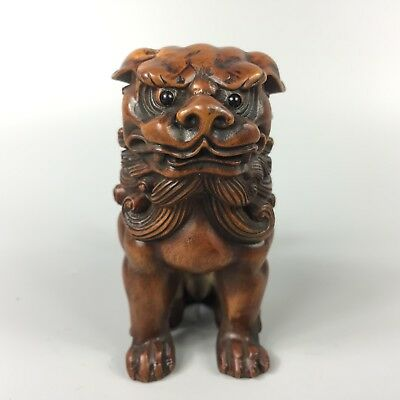 ntique Old Boxwood Rare Collectible Handwork Lion Japanese Netsuke Statue