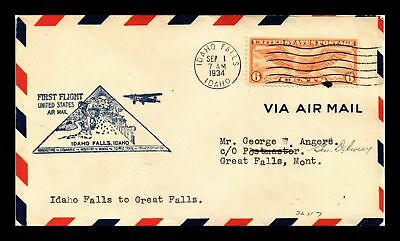 Dr Jim Stamps Us Idaho Falls First Flight Air Mail Cover Great Falls Backstamp
