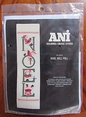 "Vintage Ani Counted Cross Stitch Kit Christmas ""Noel Bell Pull"" No. CS435, NIP"
