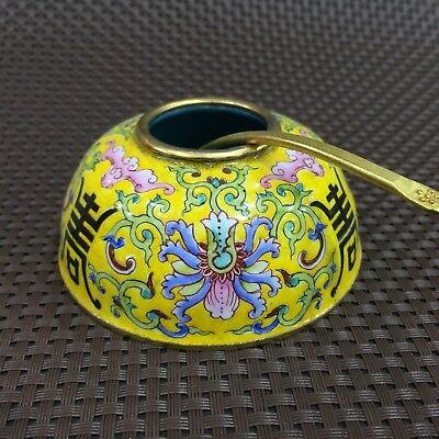 Antique Chinese Rare Collectible old Cloisonne Handwork flowers Jar & Spoon