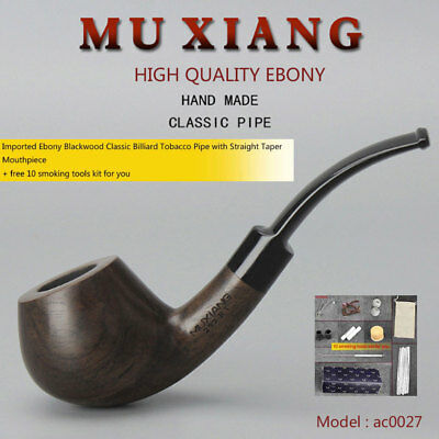 Ebony Tobacco Pipe Acrylic Bent Saddle Mouthpiece Men Bent Smok Pipe 9mm filters