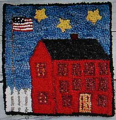 RED HOUSE WITH FLAG Primitive Rug Hooking Kit with #8 Cut wool fabric strips