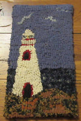 BEGINNER LIGHTHOUSE Primitive Rug Hooking KIT WITH #8 CUT WOOL STRIPS