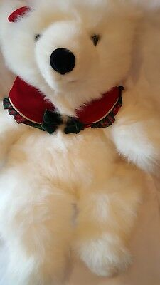 """1997 Commonwealth 24"""" Christmas themed Polar Bear with red bow and scarf"""