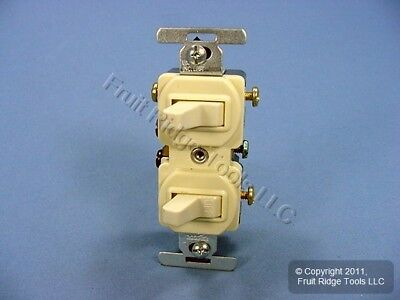 New Cooper Ivory DOUBLE Wall Toggle Light Switch Duplex Toggle 15A 120/277V 275V