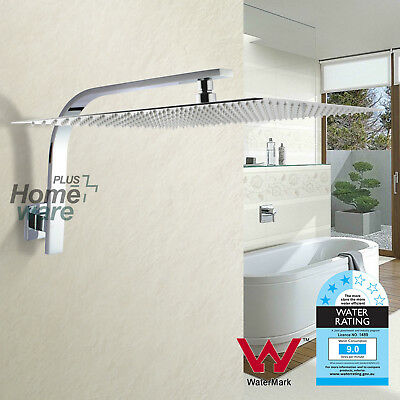 Chrome 16'' Stainless steel Square Shower Head Rose Gooseneck Wall Arm Square