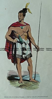 Antique Print 230-107  New Zealand Maori by Sainson 1835-45 New Zealand