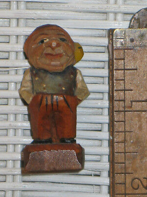 "Antique c1938 German Bavarian Black Forest Carved/Painted Wood ""Gnome"" 1.75"""
