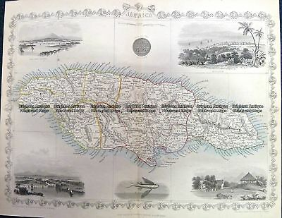 Antique Map 230-101 Jamaica by Tallis. C.1851 Other