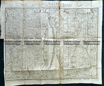 Antique Map 230-523  Map showing journey from Leipzic to St Petersburg Russia