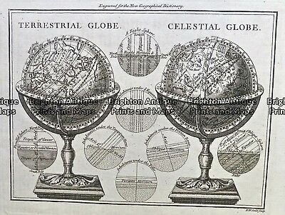 Antique Map 230-534  Terrestrial and Celestial Globes by Seale  c.1817