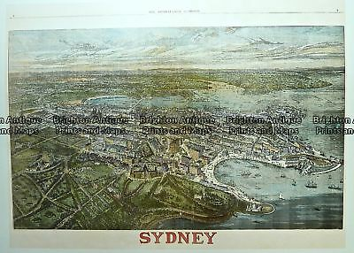 Antique Print Antique Map 231-001  Bird's eye panorama of Sydney as it was in...