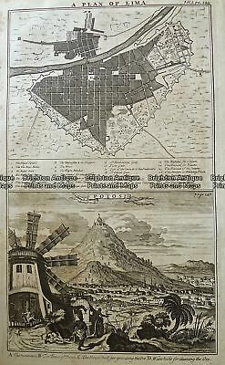 Antique Map 232-004  Lima (Peru) and Potosi (Bolivia)  c.1744