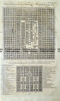 Antique Map 232-052  Plans of old & new city of Peking  by Bowen  c.1744