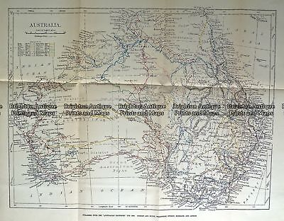 Antique Map 232-109  Australia showing tracks of explorers  c.1889
