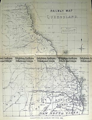 Antique Map 232-112  Queensland Railway Map by Gordon & Gotch c.1889