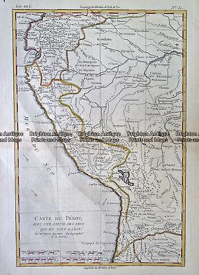 Antique Map 232-131  Carte du Perou  by Bonne  c.1780 Southern South America