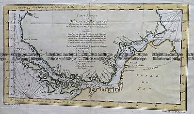 Antique Map 232-136  Detroit de Magellan by Bellin  c.1753