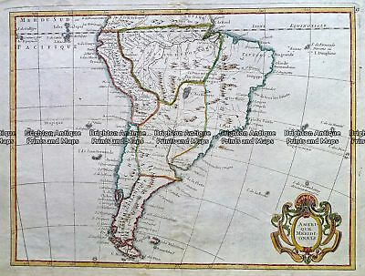 Antique Map 232-144  Amerique M  ridionale  c.1790 South America - Continent