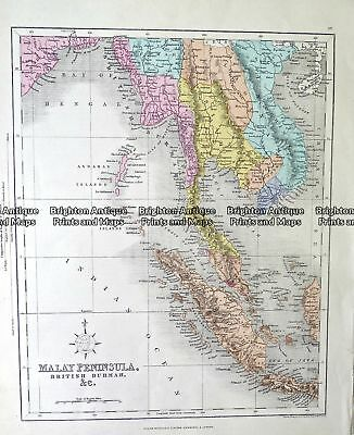 Antique Map 232-151  Malay Peninsula by Archer  c.1865 South East Asia