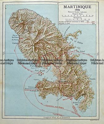 Antique Map 236-007  West Indies - Martinique in 1809, published c.1910 Other
