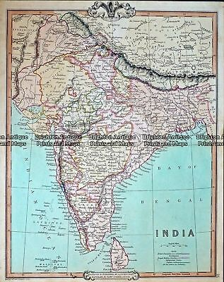 Antique Map 232-420  India by Cruchley  c.1834 India & Ceylon