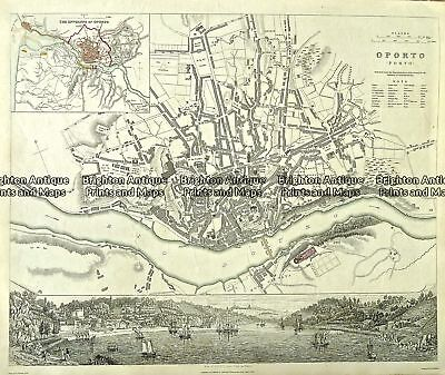 Antique Map 233-009   Oporto Street Map Portugal by S.D.U.K.  c.1844