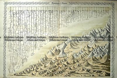 Antique Map 232-584 World Mountains and Rivers - height and length  c.1855