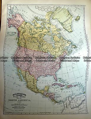 Antique Map 233-016   North America by Rand McNally  c.1894
