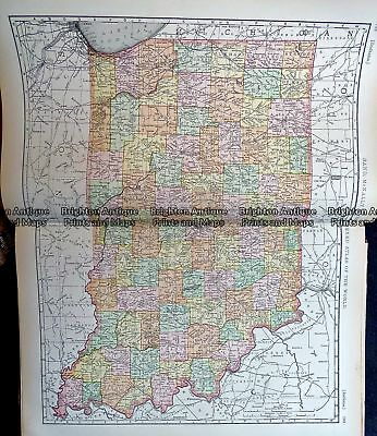 Antique Map 233-220  Indiana by Rand McNally  c.1894 Central USA