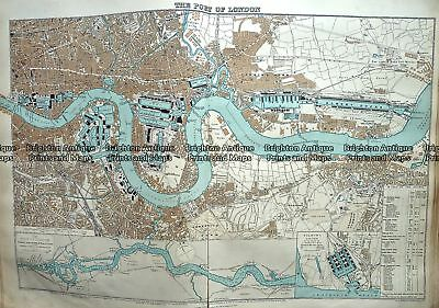 Antique Map 233-297  Port of London by Stanford  c.1887 City Street Maps
