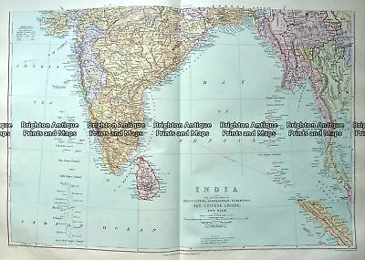 Antique Map 233-322  India and Burma by Stanford  c.1887 India & Ceylon