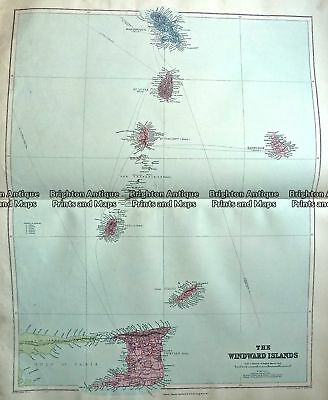 Antique Map 233-327  Windward Islands by Stanford  c.1887  Chromolithograph 4...