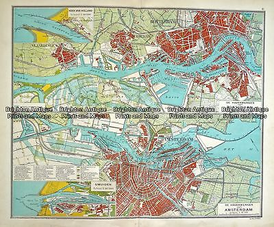 Antique Map 233-339 Holland - Amsterdam and Rotterdam by Wolters  c.1929