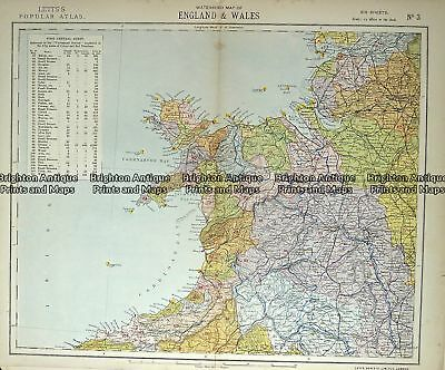 Antique Map 233-364  Wales - northern by Letts c.1880 England