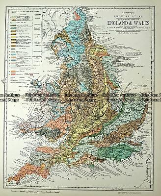 Antique Map 233-365  Geological map of England and Wales by Letts  c.1880
