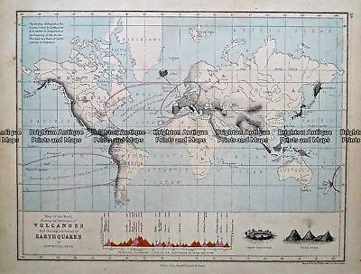 Antique Map 233-395  World - showing Volcanoes and Earthquakes