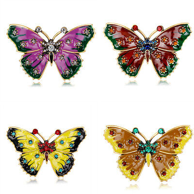 Alloy Rhinestone Butterfly Enamel Brooch Lapel Pin Vintage Women Fashion Jewelry