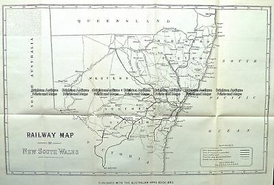 Antique Map 9-811  NSW Railway Map  c.1884 NSW