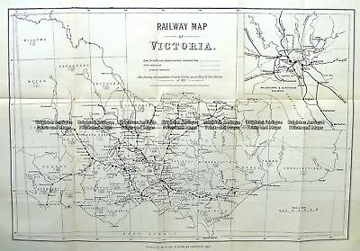Antique Map 9-813  Victoria Railway Map  c.1883 Victoria
