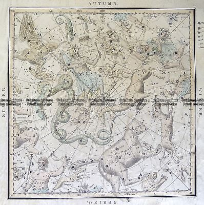 Antique Map 16-253  Celestial - Star system by Middleton  c.1842 Celestial