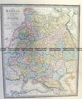 Antique Map 5-249  Russia in Europe including Poland by Wyld  c.1853 Russia