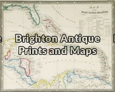 Antique Map 8-188 - West India Islands J Wyld - circa 1853 Hand coloured stee...