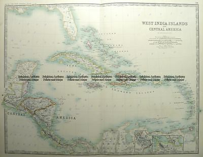 Antique Map 8-187  West India Islands & Central America by Johnston  c.1887