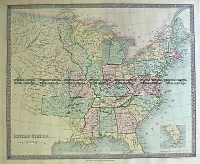 Antique Map 5-054  United States - Eastern by Teasdale  c.1844 Eastern USA