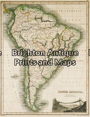 Antique Map 12-193 - South America J Thomson - circa 1820 Hand coloured steel...