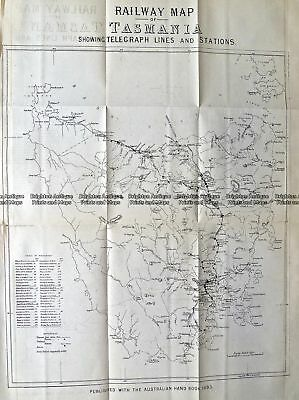 Antique Map 9-830  Tasmania Railway Map  c.1883 Tasmania