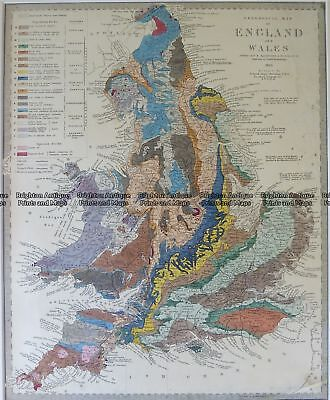Antique Map 4-180  England Geological map by S.D.U.K. c.1844 Geological maps