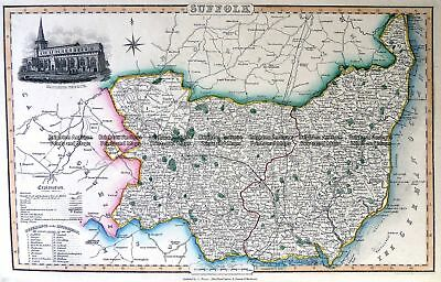 Antique Map 4-186 County of Suffolk England c.1846 Britain