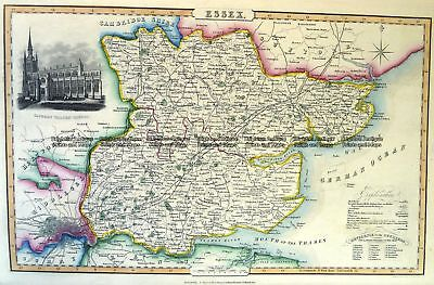 Antique Map 4-187  Essex England by I. Slater c.1846 Britain